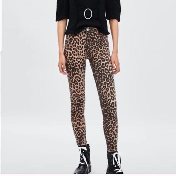 Zara leopard print skinny jeans